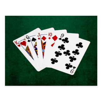 Poker Hands - Straight - King To Nine Postcard