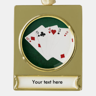 Poker Hands - Straight - Six To Two Gold Plated Banner Ornament