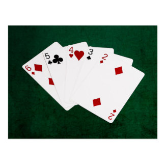 Poker Hands - Straight - Six To Two Postcard
