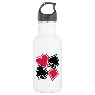 Poker heart spade diamond club stainless steel water bottle