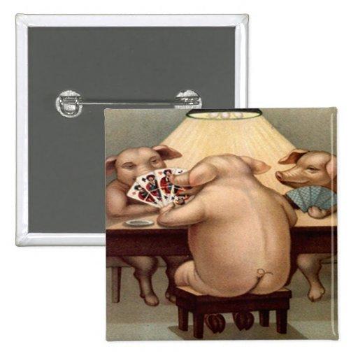 Poker Hog: Arkansas Card Shark Pinback Button