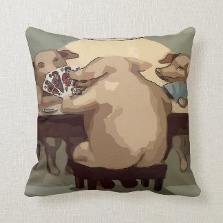 Poker Hogs Card Party Throw Pillow