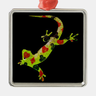 Poker Lizard Metal Ornament