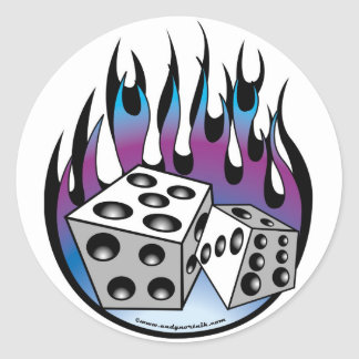 Poker Lucky 7 Dice And Flames Classic Round Sticker