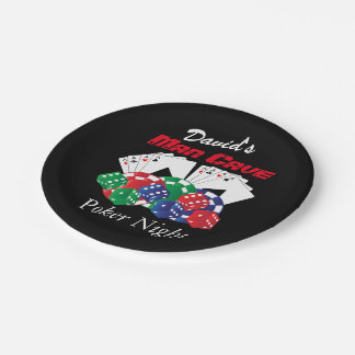 Poker Night at the Man Cave Paper Plate