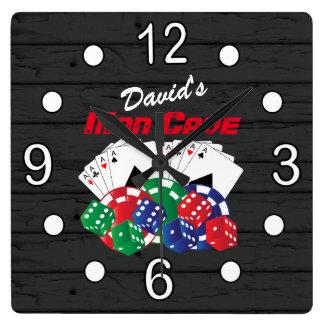 Poker Night at the Man Cave Square Wall Clock