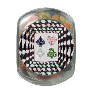 Poker Night Glass Candy Jars