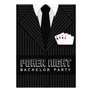 Poker Night Casino Bachelor Party Custom Invites Personalized Invitations