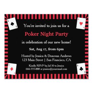 "Poker Night Housewarming Party Invitations 4.25"" X 5.5"" Invitation Card"
