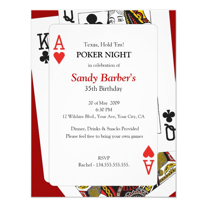 Casino Night Birthday Party Invitation Template