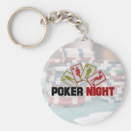 Poker Night with Playing Cards and Poker Chips Keychain