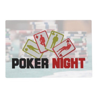Poker Night with Playing Cards and Poker Chips Placemat