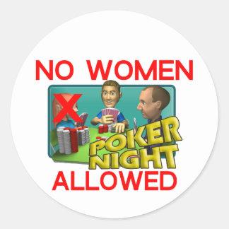 Poker No Women Classic Round Sticker