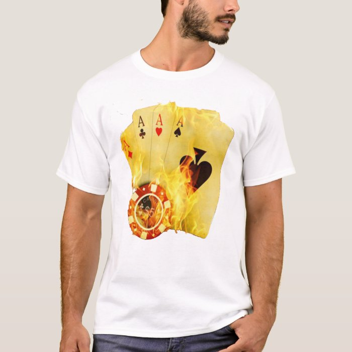Poker on fire t shirt zazzle for On fire brand t shirts