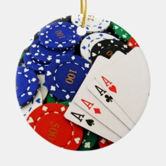 Poker Double-Sided Ceramic Round Christmas Ornament
