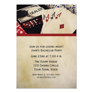 Poker Party 5x7 Paper Invitation Card