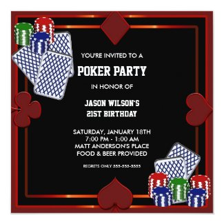 Poker Party Birthday Party Invitation