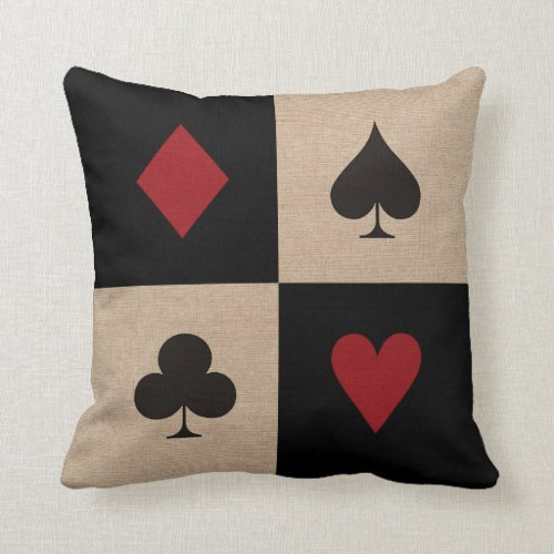 Poker Party Card Suits Throw Pillow