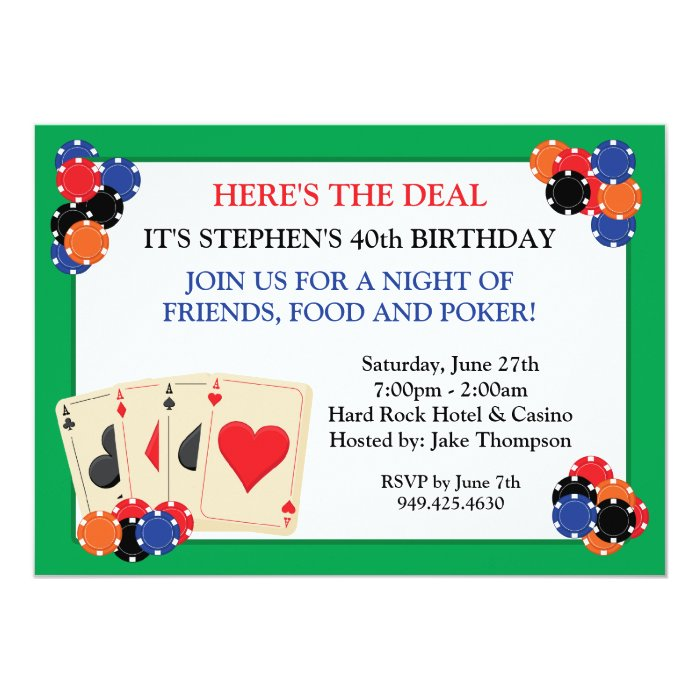 Invitations for poker party