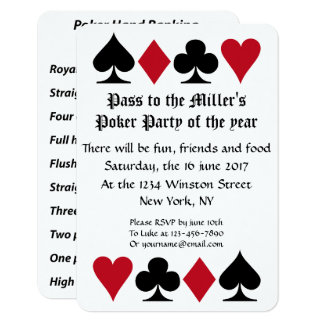 Party reminder cards greeting photo cards zazzle poker party invitation with hand ranking reminder stopboris Images