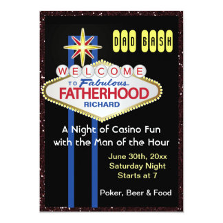 Poker Party New Daddy Baby Shower 5x7 Paper Invitation Card