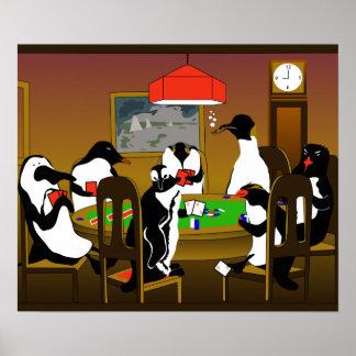 Poker penguin poster