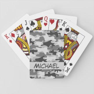 Póker personalizado nombre gris del camuflaje de cartas de póquer