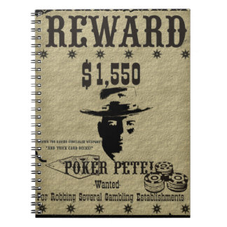 Póker Pete del poster de la recompensa Libreta