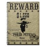 Póker Pete del poster de la recompensa Libreta Espiral