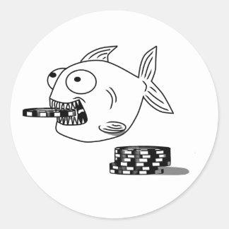 Poker Piranha fish round stickers