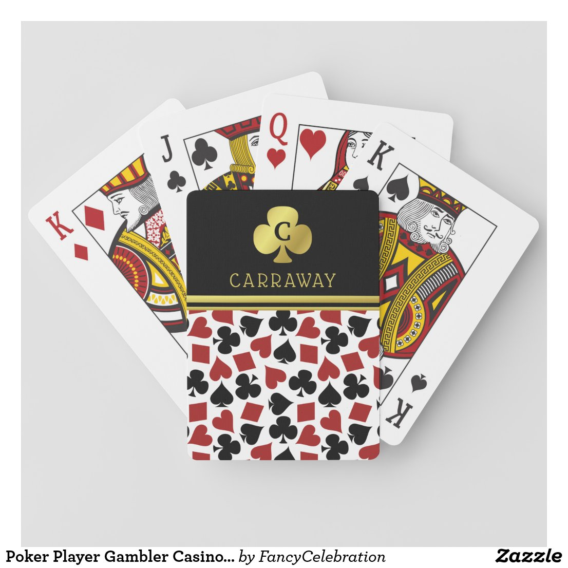 Poker Player Gambler Casino Card Suits Custom Name Playing Cards