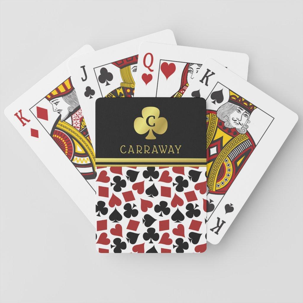 Poker Player Gambler Casino Card Suits Custom Name Playing Cards