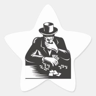 Poker Player Gambler Gambling Retro Star Sticker