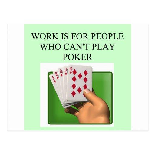 poker player lucky design postcard