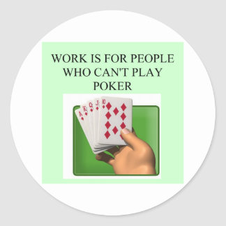poker player lucky design classic round sticker