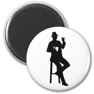Poker player 2 inch round magnet