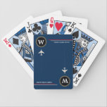 "poker-player personalized initial with airplanes bicycle playing cards<br><div class=""desc"">A great design of two inverted planes,  with custom initial,  on blue (editable color),  with the words POKER PLAYERS UNITED...  a nice idea for airplane pilots,  and perfect for days with family</div>"