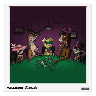 Poker Playing Animals Wall Decal