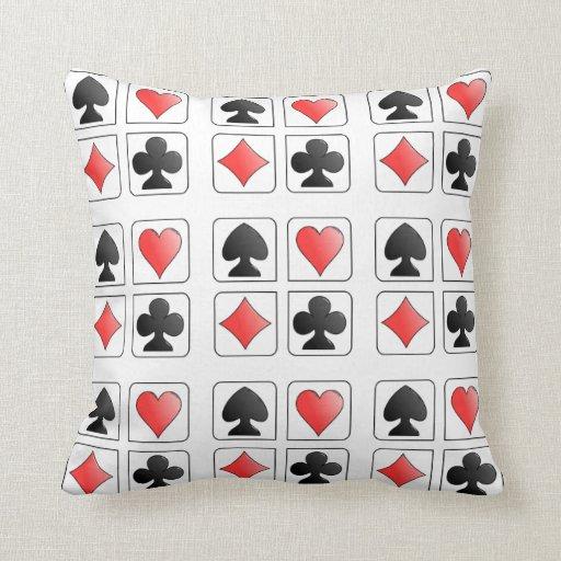 Poker Playing Card Suit Hearts Diamonds Spade Club Throw Pillows