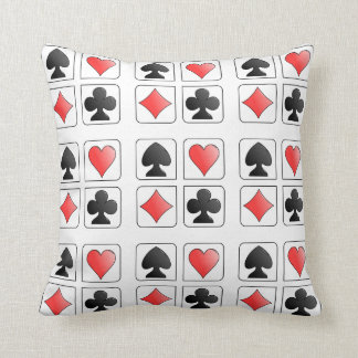 Poker Playing Card Suit Hearts Diamonds Spade Club Throw Pillow