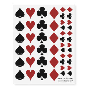 f037d1a88 Poker Playing Card Suits, Clovers Spades Hearts... Temporary Tattoos