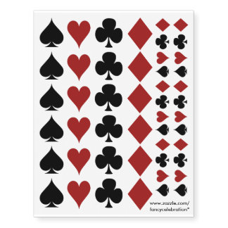 Poker Playing Card Suits, Clovers Spades Hearts... Temporary Tattoos