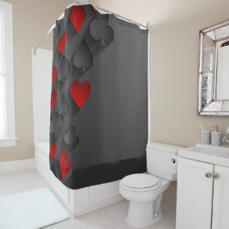 Poker Playing Card Suits on Black Shower Curtain