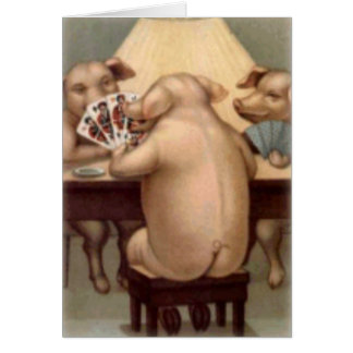 Poker Playing Pigs Card (Blank)