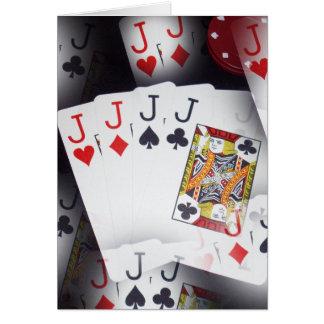 Poker,_Quad_Jacks,_Small_Note_Greeting_Card. Card