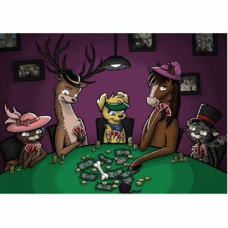 Póker que juega animales fotoescultura vertical