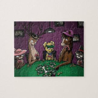 Póker que juega animales puzzles con fotos