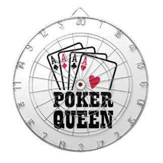 Poker queen dartboard with darts