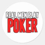 Póker real del juego de los hombres etiqueta