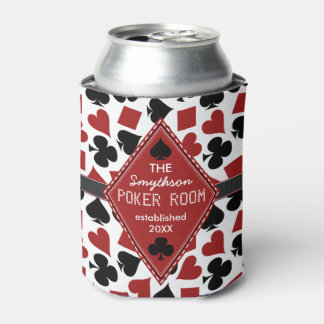 Poker Room Casino Card Suits Personalized Club Can Cooler